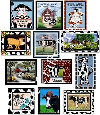 SET of TWELVE COW MAGNETS - Ship FREE!