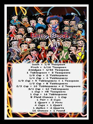 "BETTY BOOP COLLAGE MAGNET - KITCHEN MEASUREMENT GUIDE  - 5"" x 7"""