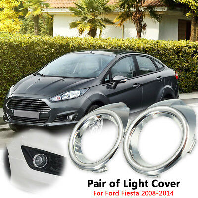 Front Bumper Chrome Fog Light Lamp Bezels Trim Cover For Ford Fiesta Mk8 2008-14