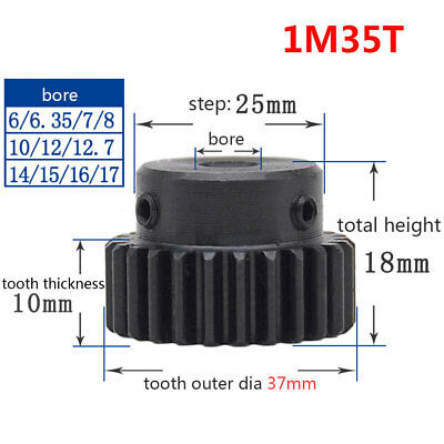 1Pcs Spur Pinion Gear 1 Mod 35T Motor Gear Bore 6/8/10/12/12.7/14/15/16/17MM