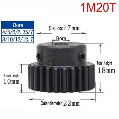 1Pcs 1M20T Spur Gear 45# Steel Outer Diameter 22mm Bore 4/5/6/6.35/7/8/10/12mm