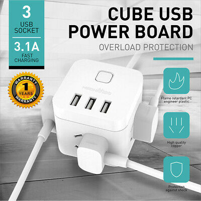 PowerCube 4 Socket Power Board Wall Mount 1.5m Extension Cord/USB Charger/AU