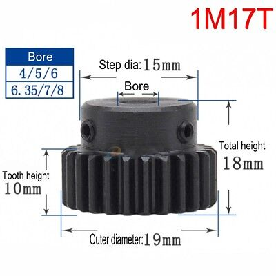 1Pcs 1M17T Steel Motor Pinion Gear Outer Diameter 19mm Bore 4/5/6/6.35/8/10mm
