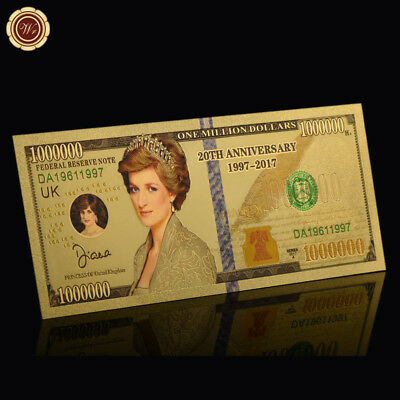 WR 24KT Gold Princess Diana Million Dollar Bill Note 20th Anniversary Souvenirs