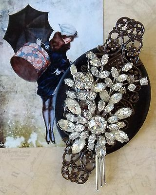 Huge Hand Crafted Recycled Vintage Jewellery Brooch