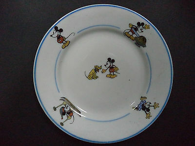 Rare Disneyana - blue dishes from mini servive - mickey Mouse - Candal -1940's