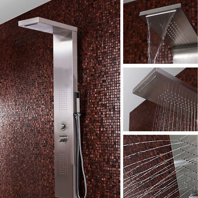 Stainless Steel Shower Panel Polished Chrome Waterfall With Body Massage Jets