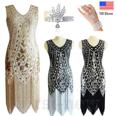 8cdaa6603d448 1920s Flapper Great Gatsby Dress Sequins Fringe Dresses Art Deco Party Prom  Gown