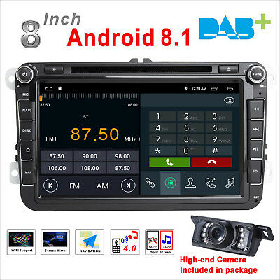 """8""""Android 7.1 Car Stereo DVD GPS SAT NAV For VW Golf Passat Touran Eos Seat DAB+"""