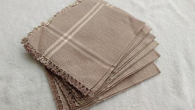 "16""x16"" 100% cotton Table Napkin Cloth Handkerchief handwoven set of 6pc Beige"