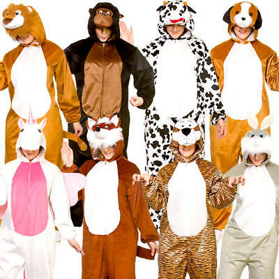 Deluxe Animal Adults Fancy Dress Book Day Mens Womens Ladies Jumpsuit Costumes