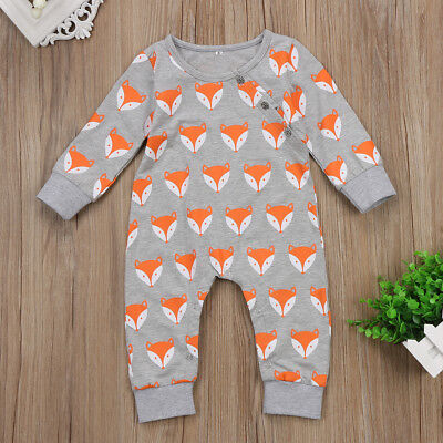 UK Stock Infant Baby Girl Boys Cute Fox Romper Bodysuit Playsuit Clothes Outfit