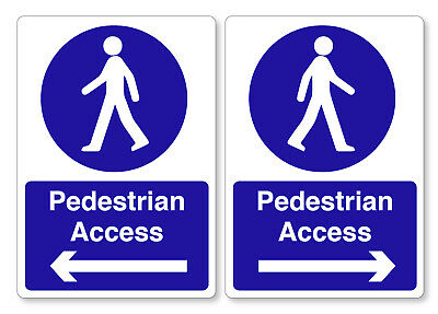 Left & Right Pedestrian Access Self Adhesive Stickers Safety Signs