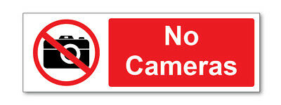 2 X No Cameras Self Adhesive Stickers Safety Signs