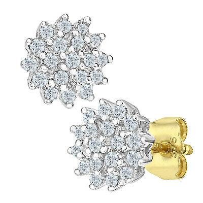 Naava Women's 9ct Yellow Gold 0.25ct Diamond Cluster Earrings - (PE02585Y)