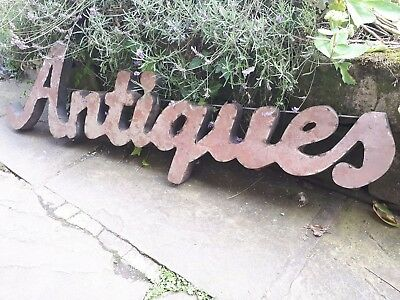 "Vintage Reclaimed Industrial Metal Antiques Shop Sign ""ANTIQUES"""