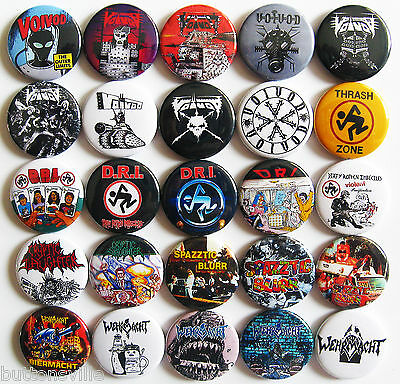WEHRMACHT VOIVOD CRYPTIC SLAUGHTER Pins Button Badges CROSSOVER THRASH METAL Set