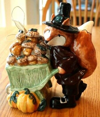 Blue Sky Clayworks Halloween Thanksgiving Pilgrim Fox Nuts Goldminc T Light Tea