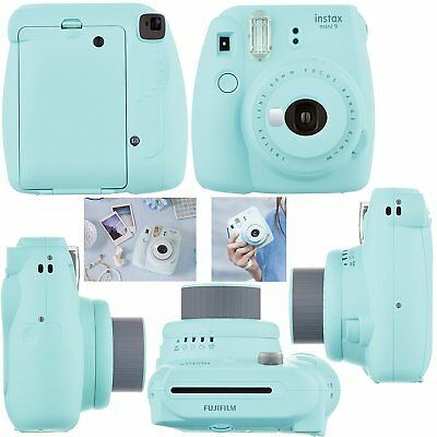 Fujifilm Instax Mini 9 Instant Polaroid Camera + Charger Set Bundle Ice Blue New