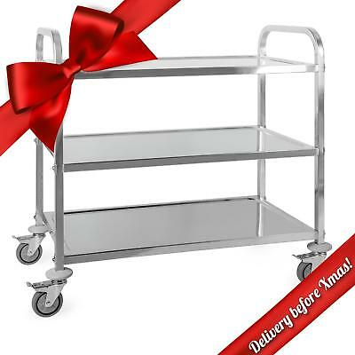 Brand New Stainless Steel Trolley Food And Drink Service Cart Parking Break