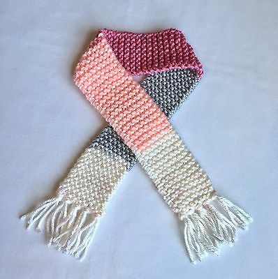 Pink Grey Knit Baby Scarf Girl Winter Accessories Photo Prop Scarves Gift Shower