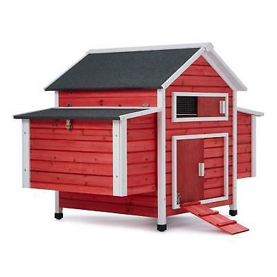 Oneconcept Decorative Hen House Poultry Farm Chicken Nesting Spacious Wooden Red