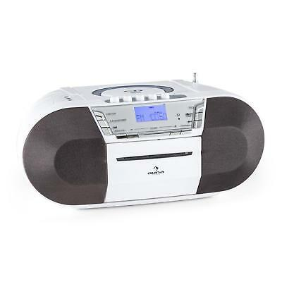 Auna Compact Stereo System Usb Cd Mp3 Player Travel Radio Cassette Music White