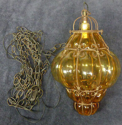 "17"" Antique Caged Amber Bubble Glass Globe HANGING Pendant LAMP LIGHT 12' Chain"