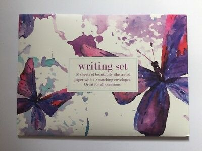 Butterfly Writing Set-10 Sheets Paper/envelopes/note Paper Gift Set-New-Lilac