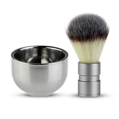 Wet Shaving Kit Stainless Steel Badger Hair Brush Double Layer Shave Bowl Mug