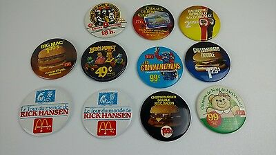 Vintage McDonald Lot of 11 Pin Button Macaron 80's French Variant  Rare HTF