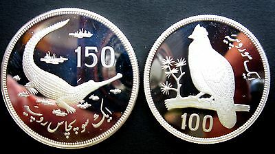 1976 Pakistan 100 & 150 Rupees pheasant crocodile Conservation silver proof RARE