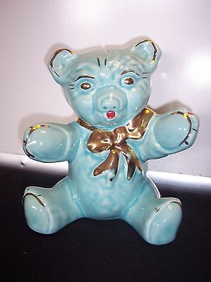Vintage Pottery Baby Blue Bear Coin Bank with Gold Accents