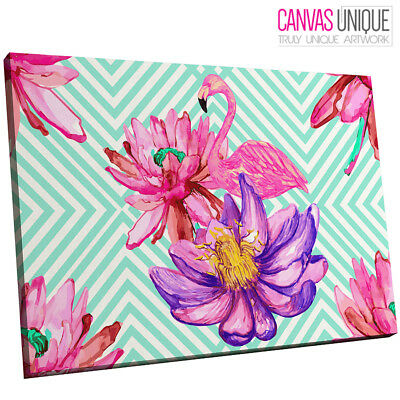 A674 Blue Pink Floral Flamingo Animal Canvas Wall Art Framed Picture Print