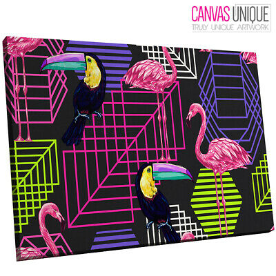 A682 Pink Yellow Toucan Flamingo Animal Canvas Wall Art Framed Picture Print