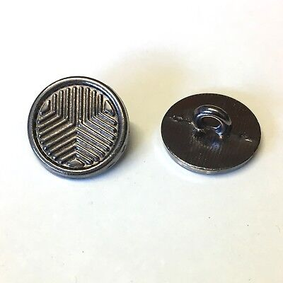 10 x 15mm aged silver/black metal blazer buttons with rear shank chevron pattern