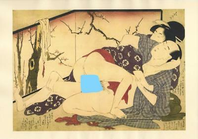 Japanese Reproduction Woodblock Print Shunga Style A24 Erotic A4 Parchment Paper