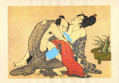 Japanese Reproduction Woodblock Print Shunga Style A31 Erotic A4 Parchment Paper