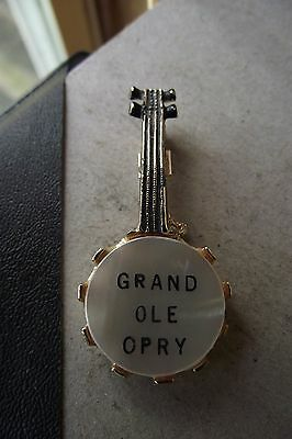 Grand Ole Opry 2 Vintage Banjo Shaped Pins With Mother Of Pearl Face Country Mus