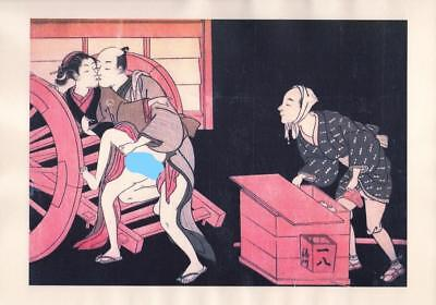 Japanese Reproduction Woodblock Print Shunga Style A43 Erotic A4 Parchment Paper