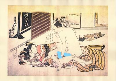 Japanese Reproduction Woodblock Print Shunga Style A54 Erotic A4 Parchment Paper