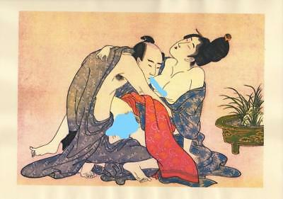 Japanese Reproduction Woodblock Print Shunga Style A63 Erotic A4 Parchment Paper