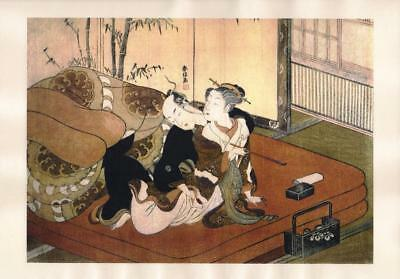 Japanese Reproduction Woodblock Print Shunga Style A68 Erotic A4 Parchment Paper