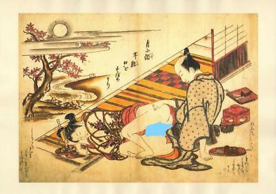 Japanese Reproduction Woodblock Print Shunga Style A71 Erotic A4 Parchment Paper