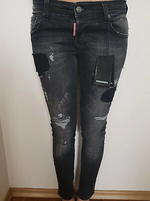 Brand New Womens Jeans Dsquared2 Black Ragged with Paint All sizes Made in Italy