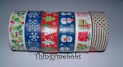 2.5m x 15mm CHRISTMAS WASHI/STICKY/MASKING TAPE- 6 DESIGNS - CRAFTS/CARD MAKING