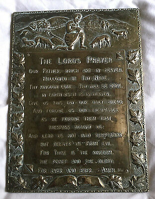 VINTAGE Brass Wall Plaque Hanger THE LORD'S PRAYER