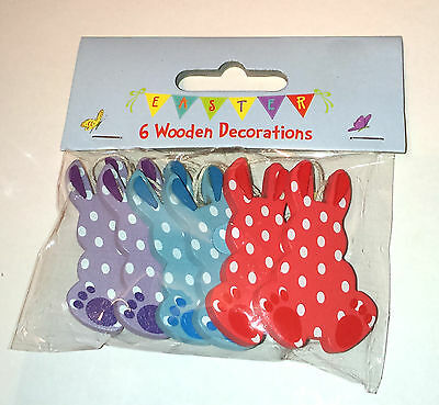 6 WOODEN BUNNIES Hanging Ornaments GIFT TAG Card NAPKIN RINGS Spotty Flat Rabbit
