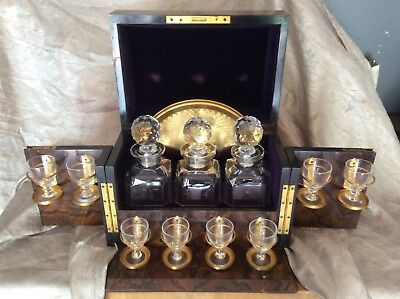 Vintage Traveling Bar Decanter Set With Glasses Box Antique PRICE REDUCTION