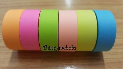 5m x 15mm NEON PAPER WASHI/STICKY/MASKING TAPE - 6 COLOURS - CRAFTS/CARD MAKING